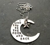 jewels,i love you to the moon and back,necklace,quote on it