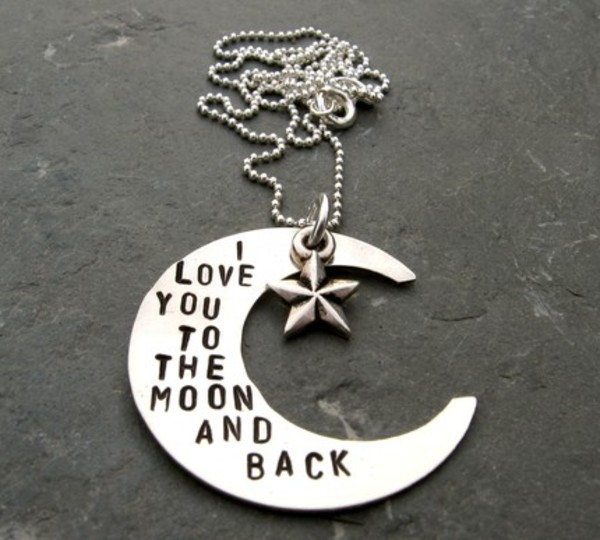 jewels i love you to the moon and back necklace quote on it