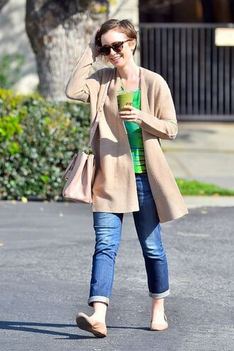 cardigan ballet flats lily collins shoes