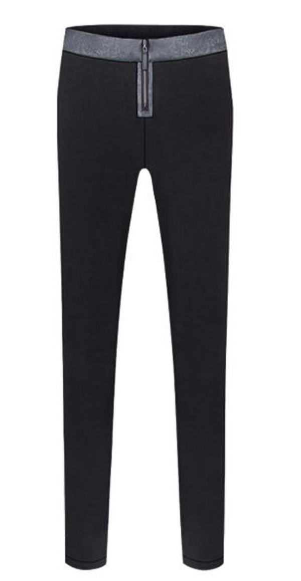 black leggings skinny pants black pants pu leather waist www.ustrendy.com