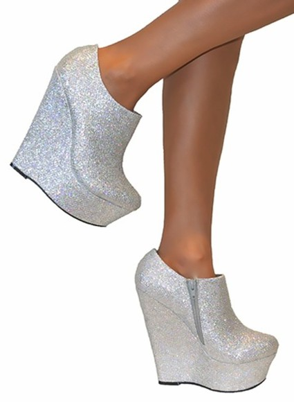 shoes wedges silver glitter silver high heels sparkles