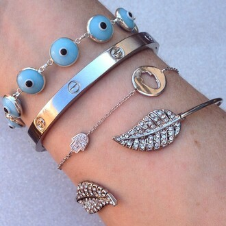jewels jewel cult jewelry bracelets stacked bracelets silver silver bracelet sterling silver evil eye hamsa crystal