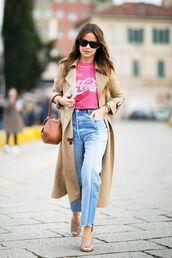 shoes,mules,nude shoes,jeans,blue jeans,t-shirt,pink t-shirt,coat,camel coat,bag,brown bag,sunglasses,miroslava duma,gucci