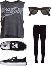 t-shirt,shirt,top,grey,coca cola,coca cola t-shirt,grey shirt,grey coca cola,grey t-shirt,muscle tee,tank top,black,black t-shirt,black muscle tee,sunglasses,shoes,pants,jeans,black sunglasses,black shirt,black shoes,black jeans,coca-cola,cola,vans,graphic tee
