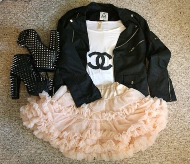 jacket shirt shoes skirt black leather jacket ruffled skirt pink tutu leather jacket top coat dress chanel inspired t-shirt blouse