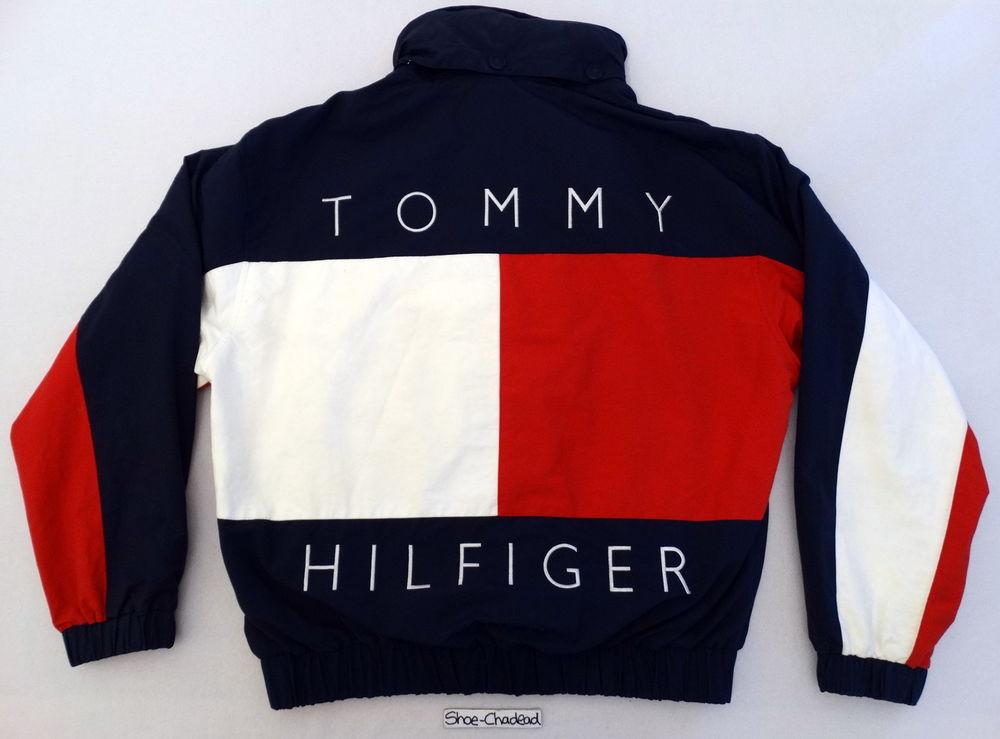 vtg 90s tommy hilfiger huge usa flag logo reversible jacket sport. Black Bedroom Furniture Sets. Home Design Ideas