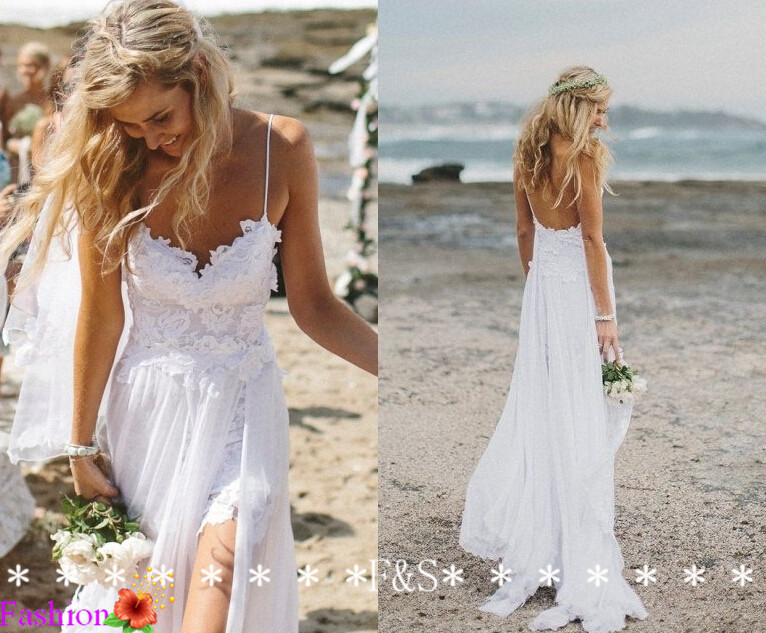 Buy 2014 boho sexy spaghetti straps beach for Spaghetti strap low back wedding dress