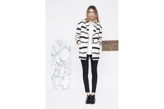 coat zèbre zébra blanc white black noir crème cream parka