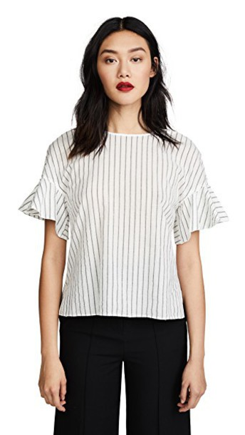 DEREK LAM 10 CROSBY top ruffle white