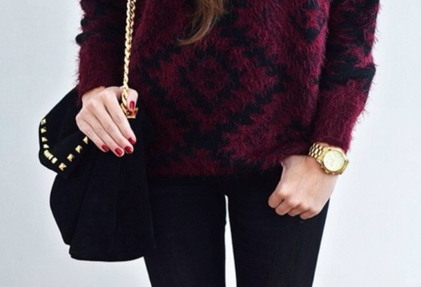 Sweater: wine red, wine, black, cozy sweater, tumblr - Wheretoget