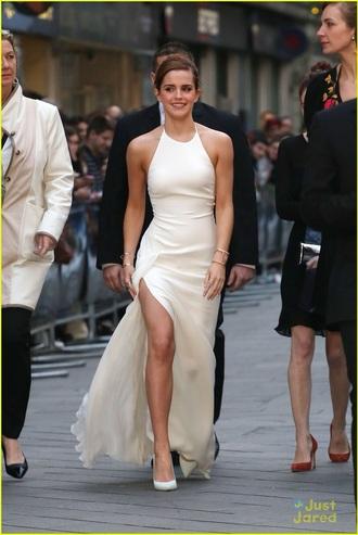 dress emma watson white dress maxi dress backless dress slit dress