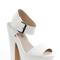 Ella white chunky platform heel peep toe sandals