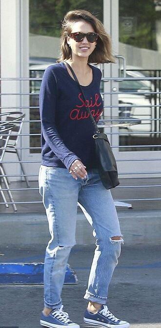 sweater jeans sweatshirt jessica alba denim sneakers