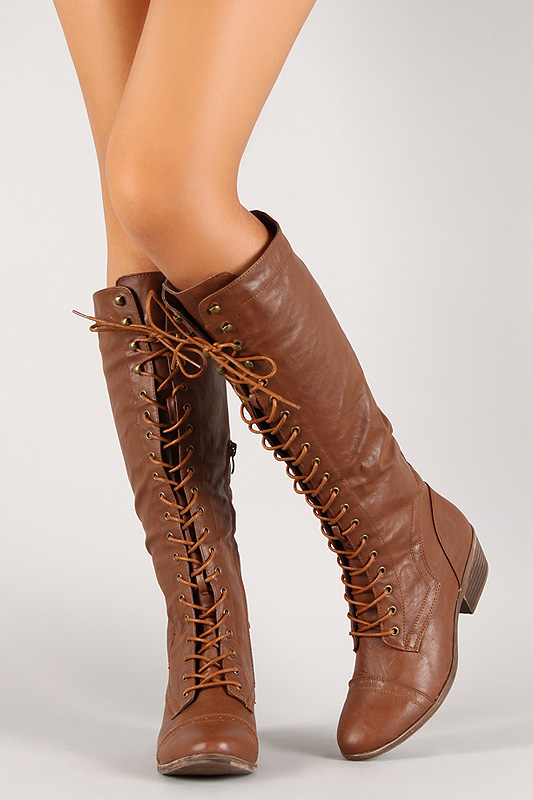 Lace up chunky heel knee high military boot