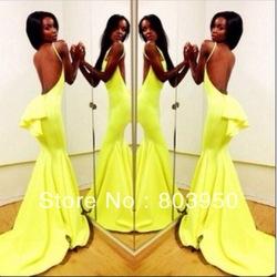 Online shop sexy vestidos de fiesta sweetheart vestido amarelo yellow chiffon mermaid long prom dresses winter women party dresses 2014