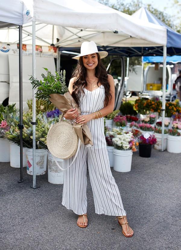 jumpsuit striped jumpsuit spring outfits sandals flat sandals hat sun hat