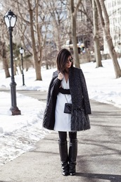 this time tomorrow,blogger,charcoal,grey coat,white dress,black boots,jacket,dress,shoes,sweater,bag,jewels,sunglasses