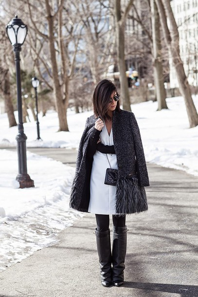 this time tomorrow blogger charcoal grey coat white dress black boots jacket dress shoes sweater bag jewels sunglasses