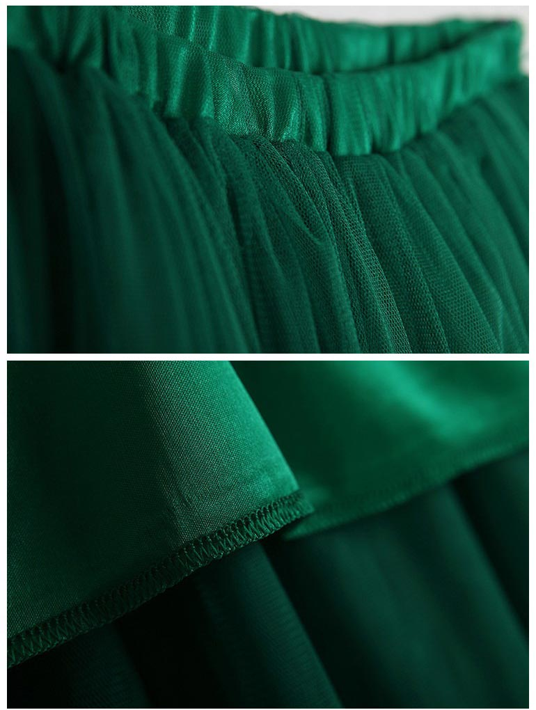 Green Retro Full Midi Skirt in Mesh [FMCC0241] - PersunMall.com