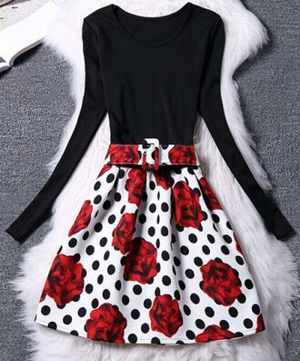 dress fashion trendy floral long sleeves women's chic belted long sleeve scoop neck flower polka dot dress warm fall outfits cozy cute girly stylish black red white