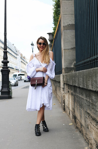 dress tumblr white dress off the shoulder off the shoulder dress midi dress boots ankle boots bag shoes