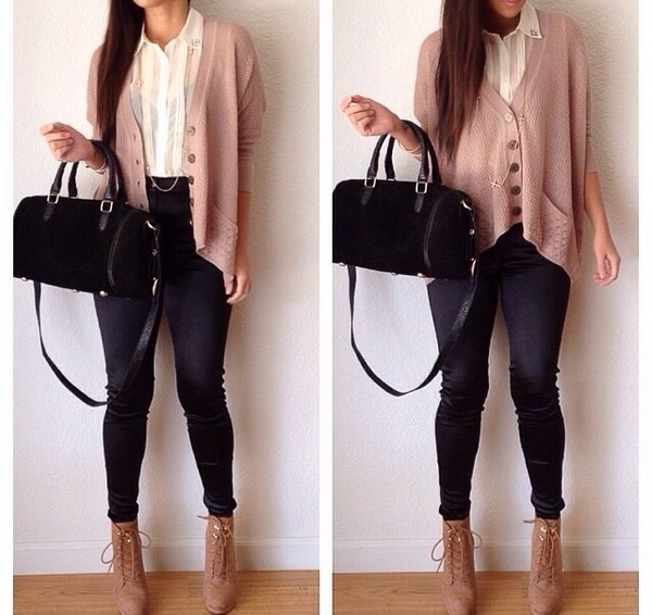 sweater knitted cardigan cardigan oversized cardigan pink pink cardigan blouse jeans pants jewels shoes bag knit