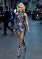 carrie underwood,sandals,lace up heels,asymmetrical dress,asymmetrical,metallic,mini dress
