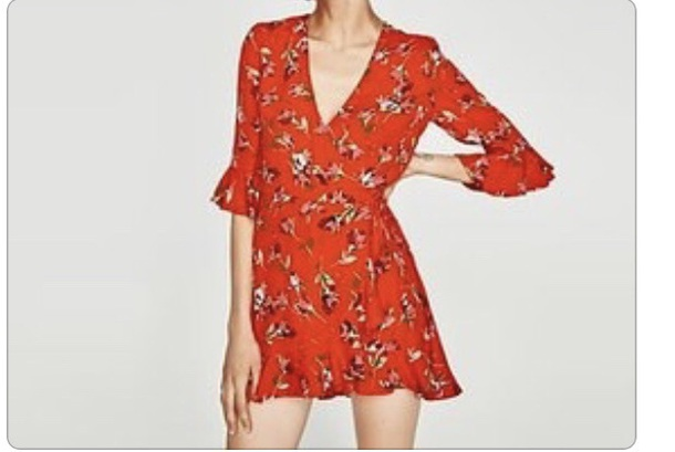 f9c81f6174 dress zara red floral ruffle v neck long sleeves summer spring girly casual  comfy
