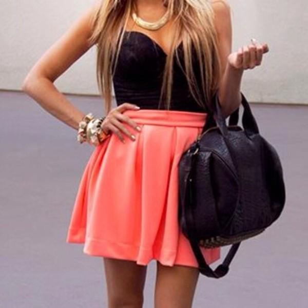 skirt orange mini skirt black top sexy sun summer classy corset jewel in gold crop tops blouse bag jewels orange skirt