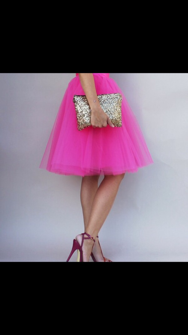 hot pink tulle skirt bag