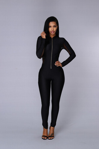 jumpsuit black jumpsuit mesh fitted mesh jumpsuit sexy jumpsuit