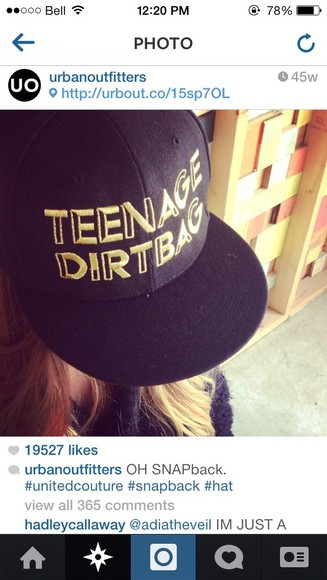 uo urban outfitters black hat snapback snapback hat teenage dirtbag