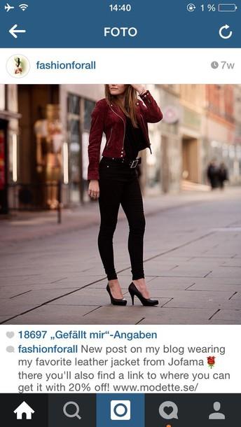 jacket wild leather black&bordeaux