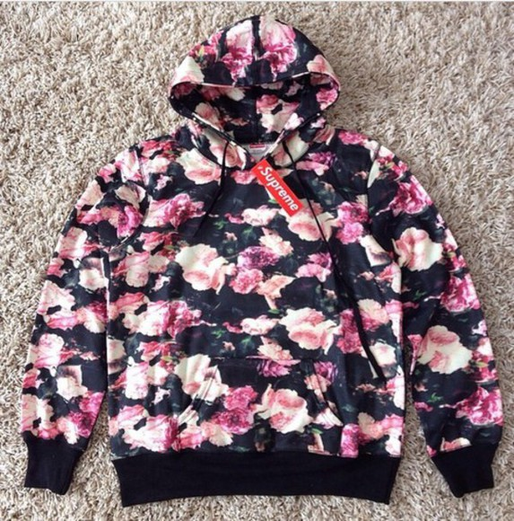 supreme hoodie style floral sweater flowers cozy