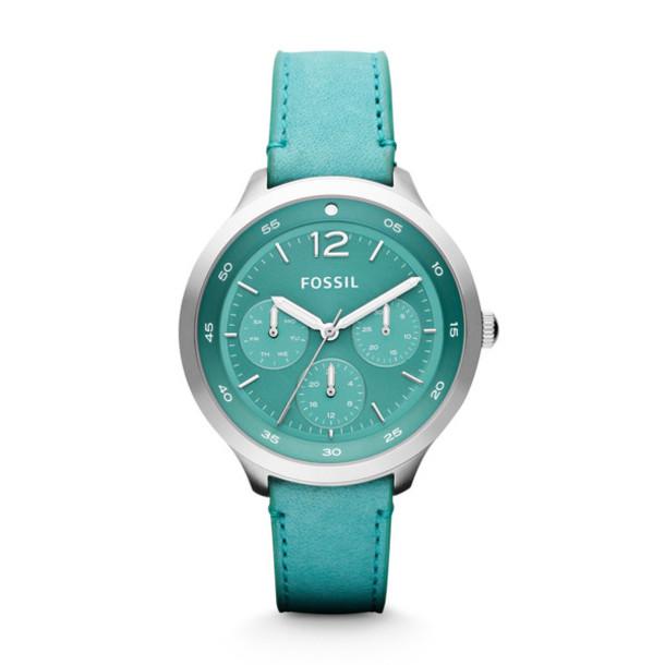 jewels teal watch silver watch fossil watch