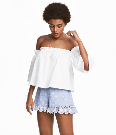 H&M Embroidered Ruffled Shorts $49.99