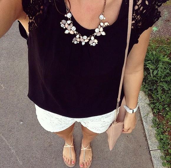 black t-shirt jewels necklace top black top bag shorts dentelle top dentelle blanche shoes sandals necklace alexa chung pink dress gold handbag