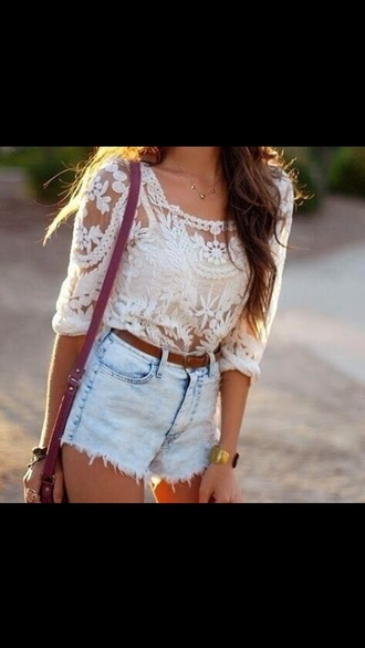 blouse lace top shorts top white top