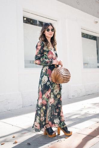 dress floral dress floral maxi dress long dress long sleeve dress long sleeves sandals sandal heels bag handbag