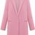 Pink Lapel Long Sleeve Pockets Woolen Coat - Sheinside.com