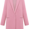 Pink lapel long sleeve pockets woolen coat - sheinside.com