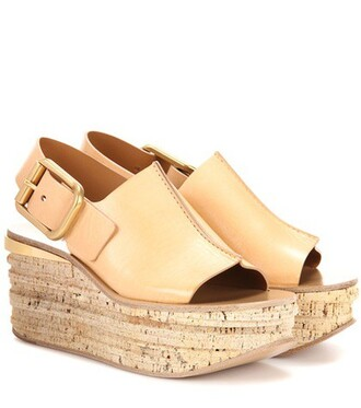 sandals platform sandals leather beige shoes