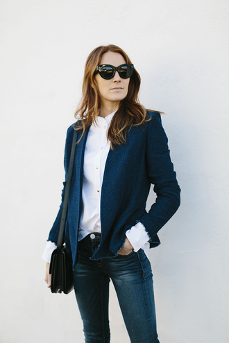 could i have that blogger jacket blouse bag sunglasses shoes jeans