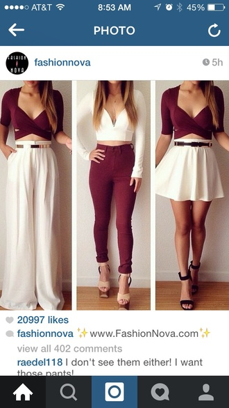 blouse cream top garnet pants
