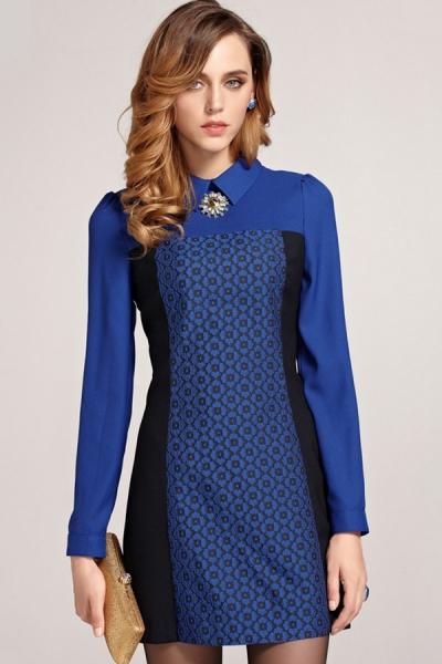 Floral Jacquard Shift Dress - OASAP.com