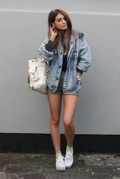 jacket denim jacket grey shorts white bag white sneakers blogger