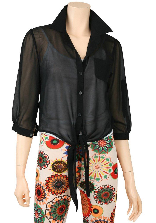 Ililily light chiffon color loose top 3/4 sleeve women thin summer blouse (shirts