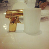 jewels,mug,cup,white,gold,gun,handle,tea,cuppa
