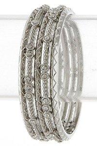 Amazon.com: bejewled jewellery lavish zigzag imprinted and rhinestone edged bangle set (gold): jewelry