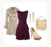 dress,sleeveless dress,plum,plum dress,v neck,cross over,crossed dress,flowy dress,layered,waist ribbon,coat,jacket,trench coat,heels,high heels,platform heels,platform shoes,pumps,platform pumps,scales,scale heels,fish scale heels,cream heels,earrings,bag,purse,clothes,outfit